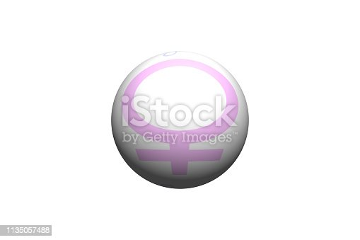 istock pink 3d button female icon i 1135057488