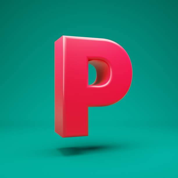 Pink 3d letter P uppercase on mint background Pink 3d letter P uppercase on mint background. 3D rendering. Best for anniversary, birthday party, celebration. letter p stock pictures, royalty-free photos & images