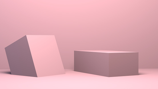 istock Pink 3d Minimalist geometrical abstract background, pastel colors, 3D render. 1124413893
