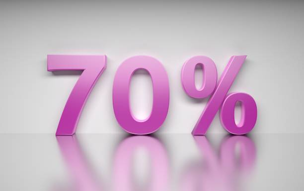 Pink 70 percent numbers stock photo
