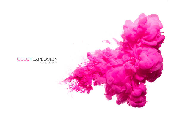 pink acrylic ink in water. color explosion - magenta stock photos and pictures
