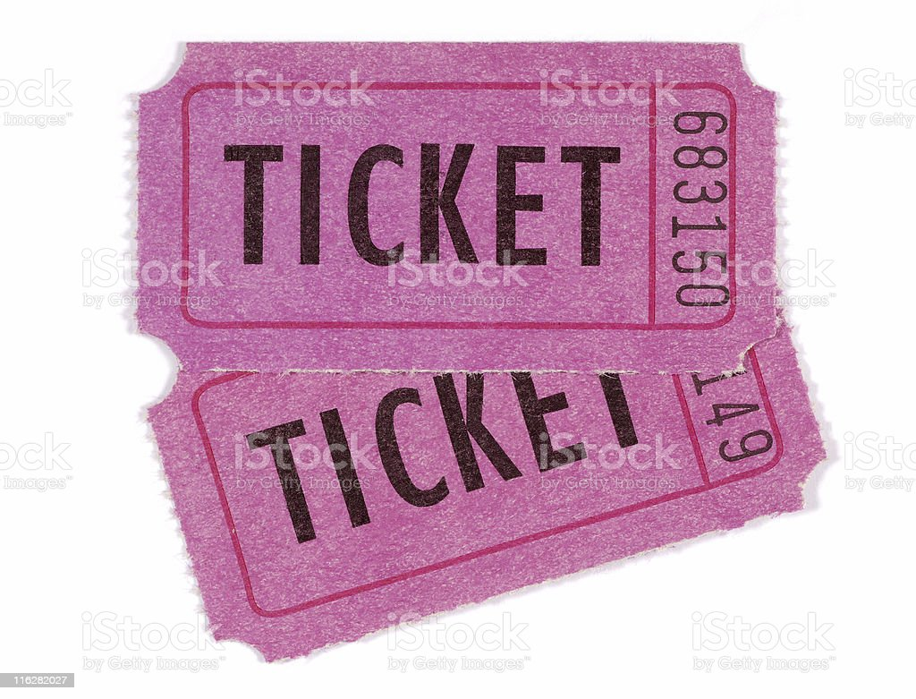 Pink admission tickets royalty-free stock photo