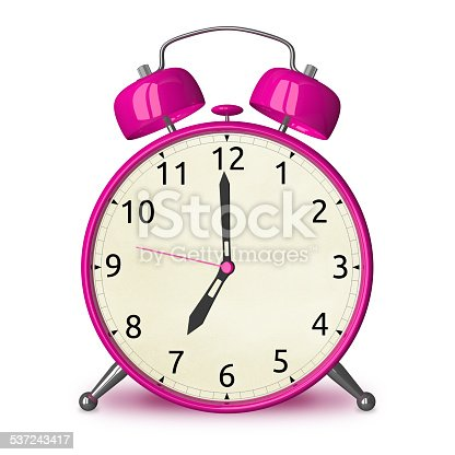 Pink alarm clock isolated on white, front view