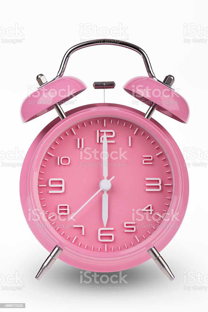 Pink Alarm Clock With Hands At 6 Am Or Pm Stock Photo More