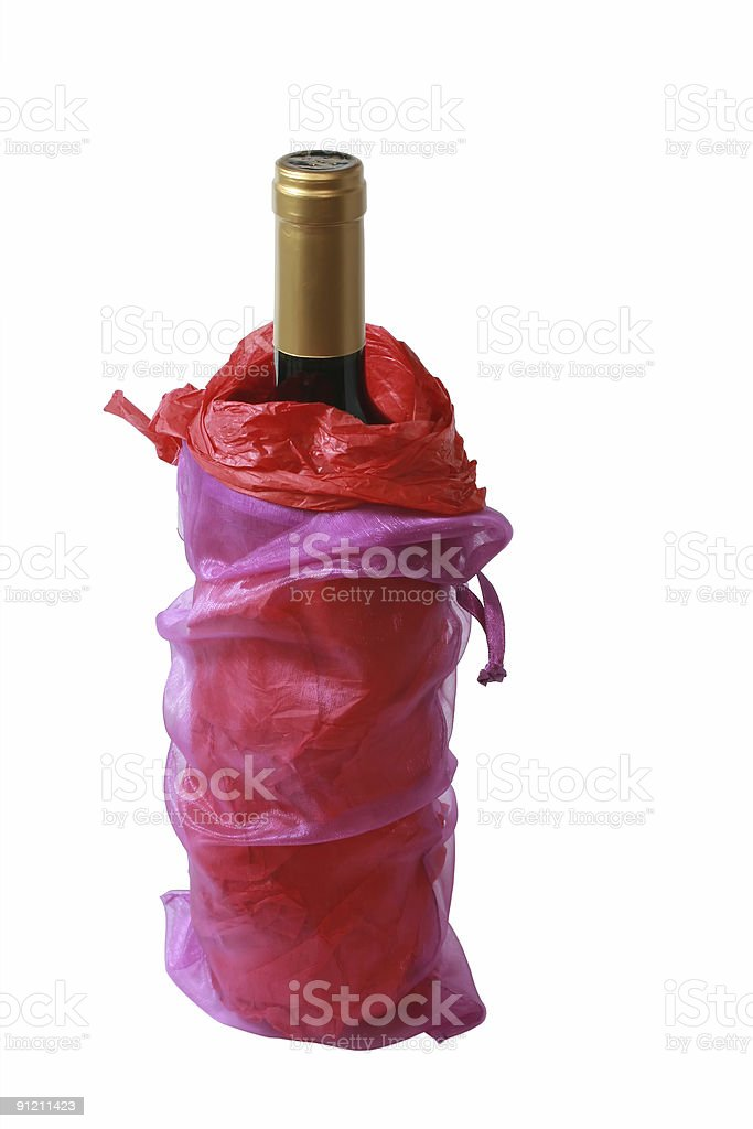 Pink alcohol Gift Bag With a Bottle of wine royalty-free stock photo