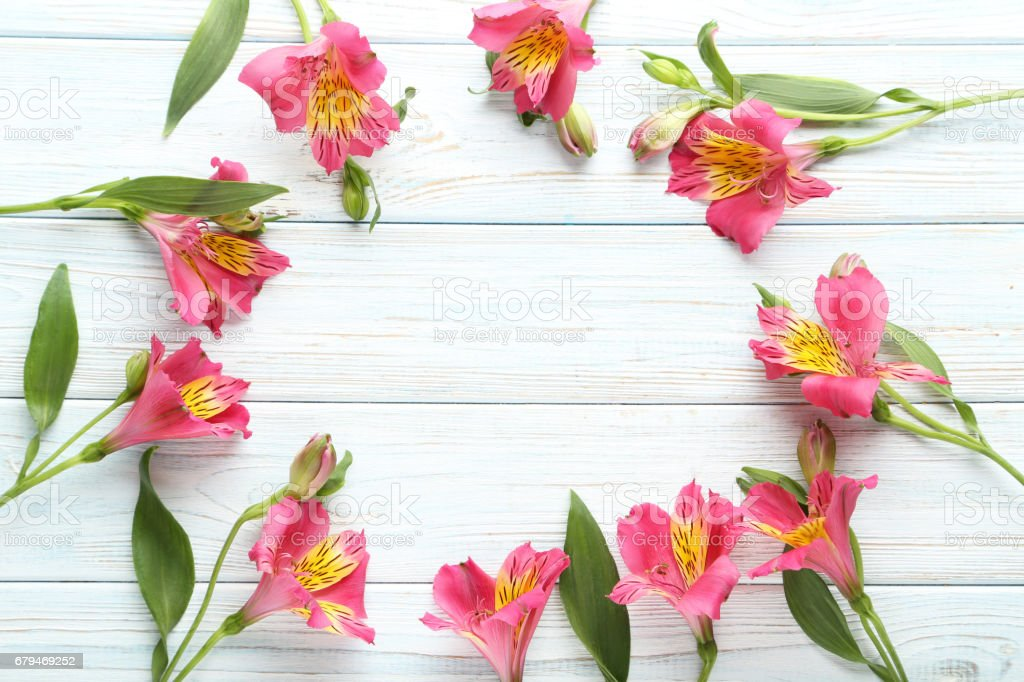Pink alstroemeria flowers on white wooden table royalty-free stock photo
