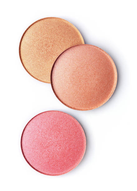Pink and beige blusher or eyeshadow Pink and beige blusher or eyeshadow isolated on white background blusher make up stock pictures, royalty-free photos & images
