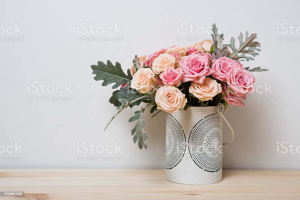 pink and beige roses stock photo