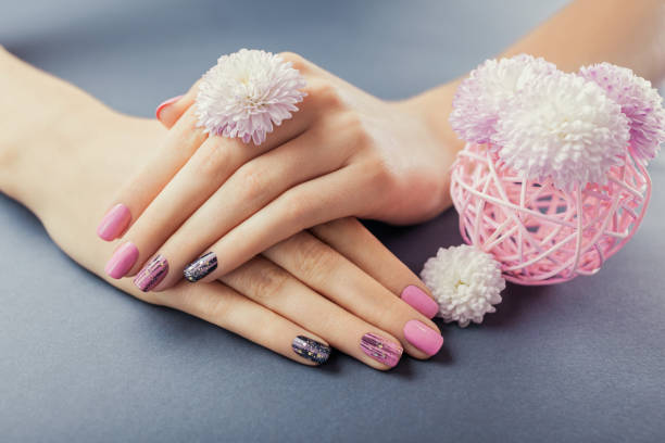 Pink and black manicure on female hands with flowers on grey background. Nail art and design stock photo