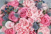 Pink and blue flowers background