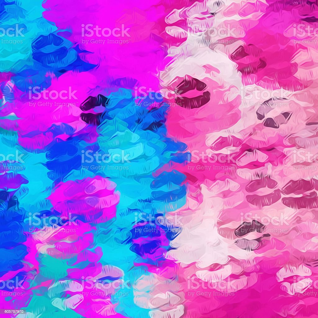 Pink And Blue Kisses Lipstick Abstract Background Stock