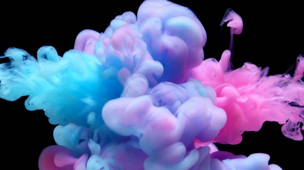Pink and blue liquid impact stock photo