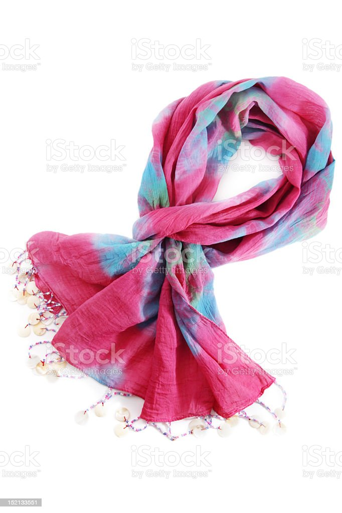 Pink and blue scarf isolated on white background royalty-free stock photo