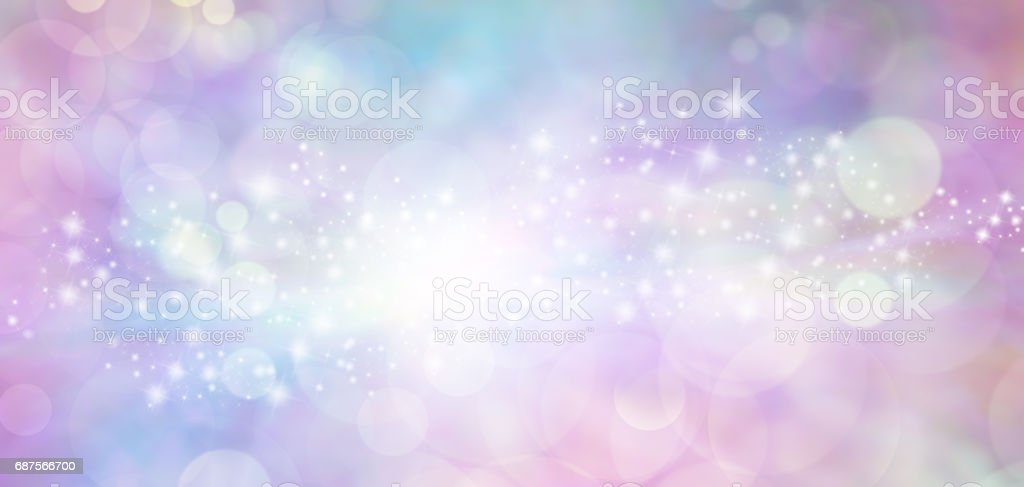 Pink and blue starry glitter feminine toned bokeh background banner stock photo