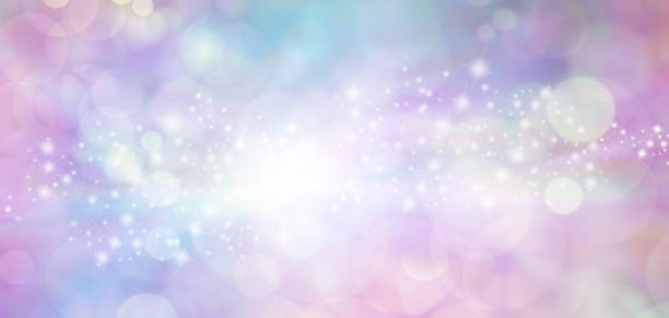 pink and blue starry glitter feminine toned bokeh background banner - femininity stock pictures, royalty-free photos & images