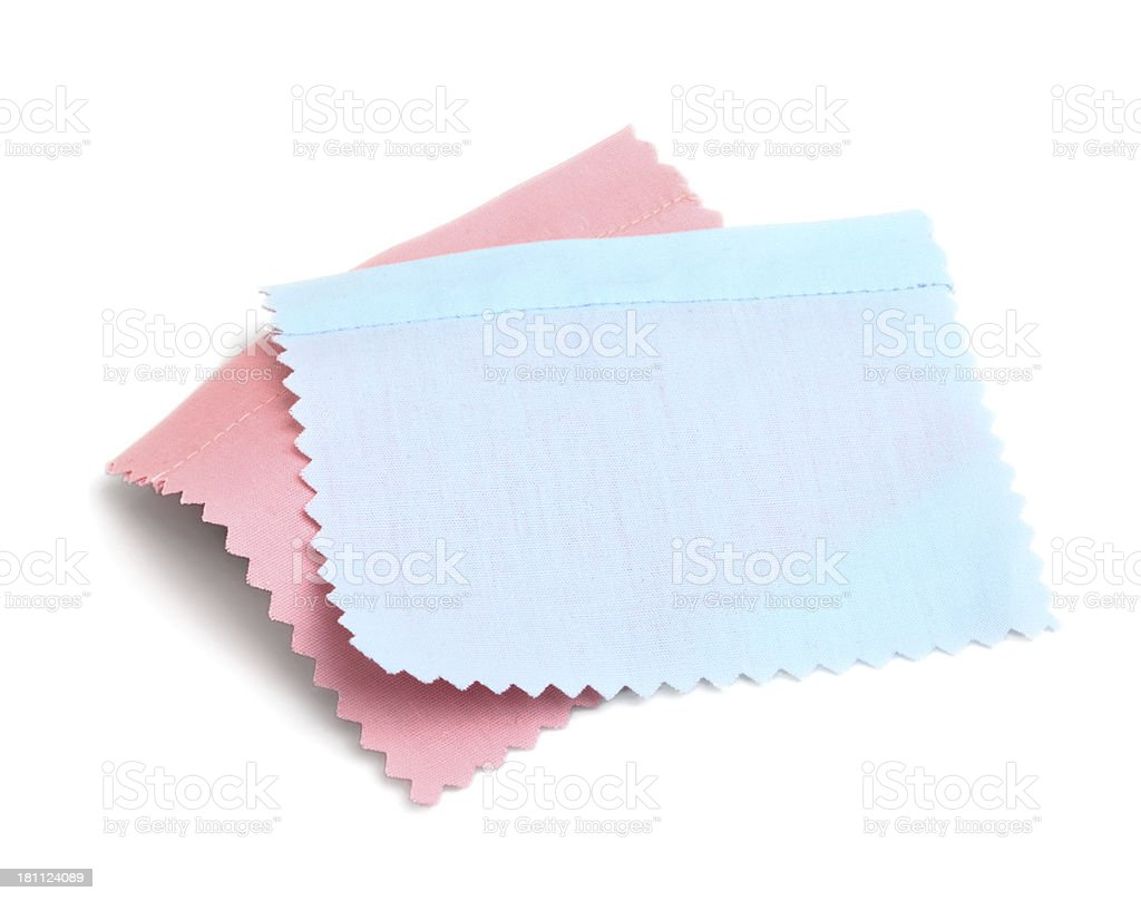Pink and Blue Stitched Fabric Swatch royalty-free stock photo