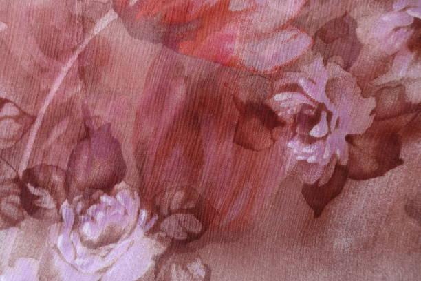 rosa und braun chiffon stoff mit blumendruck - druck chiffon stock-fotos und bilder
