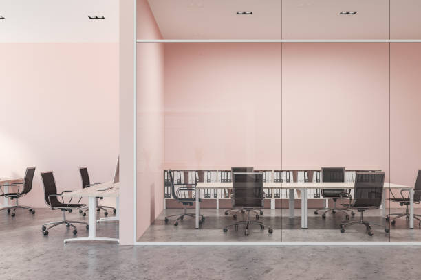 Pink and glass wall meeting room interior stock photo