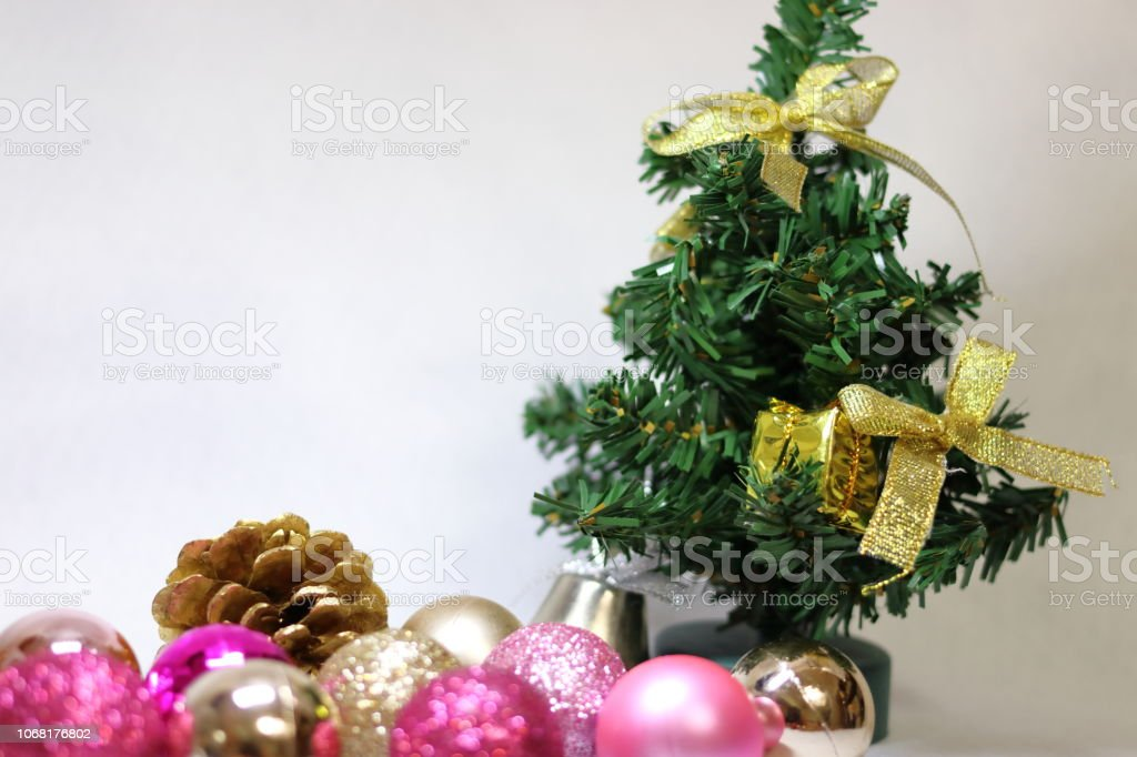 Pink And Gold Etc Colorful Glitter Christmas Decorations Ribbon And Christmas Tree Stock Photo Download Image Now Istock