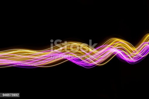 Long exposure abstract photo of colored fairy lights in swirls and waves