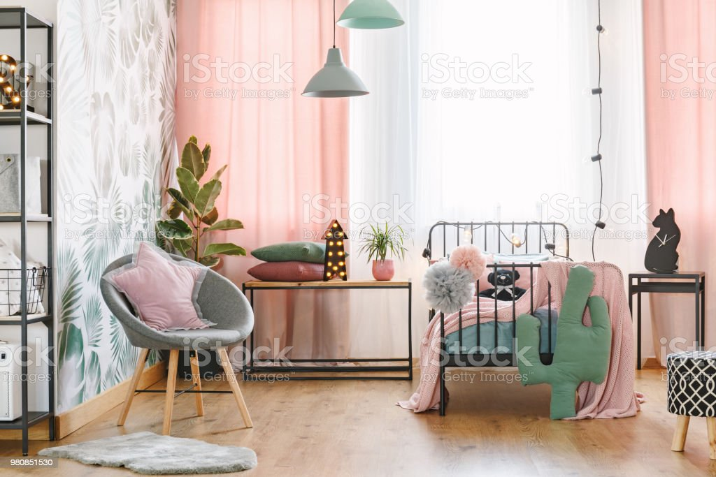 Pink and grey bedroom interior stock photo