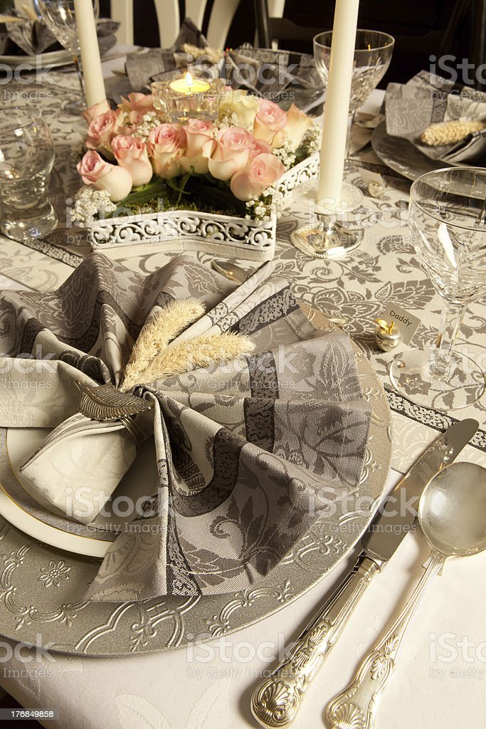 Pink and grey christmas table royalty-free stock photo