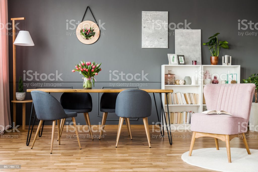 Pink And Grey Dining Room Royalty Free Stock Photo
