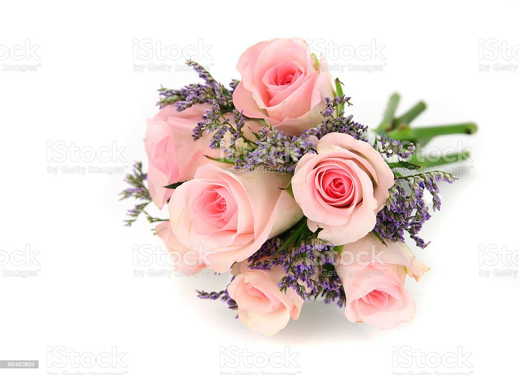Pink and mauve rose bouquet isolated on white. royalty-free stock photo