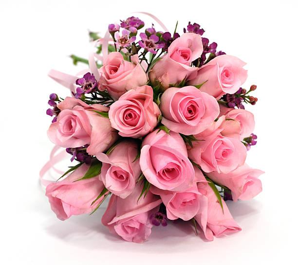 rosa und lila rosa blumenstrauß isoliert auf weiss, schatten - hochzeitsblumensträuße stock-fotos und bilder