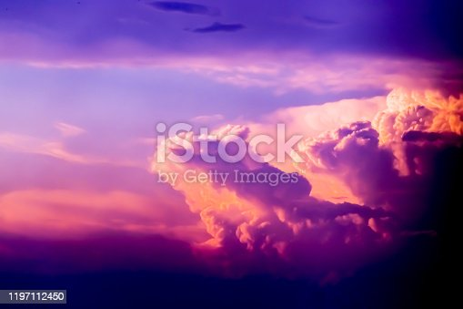 Pink and orange clouds at sunset