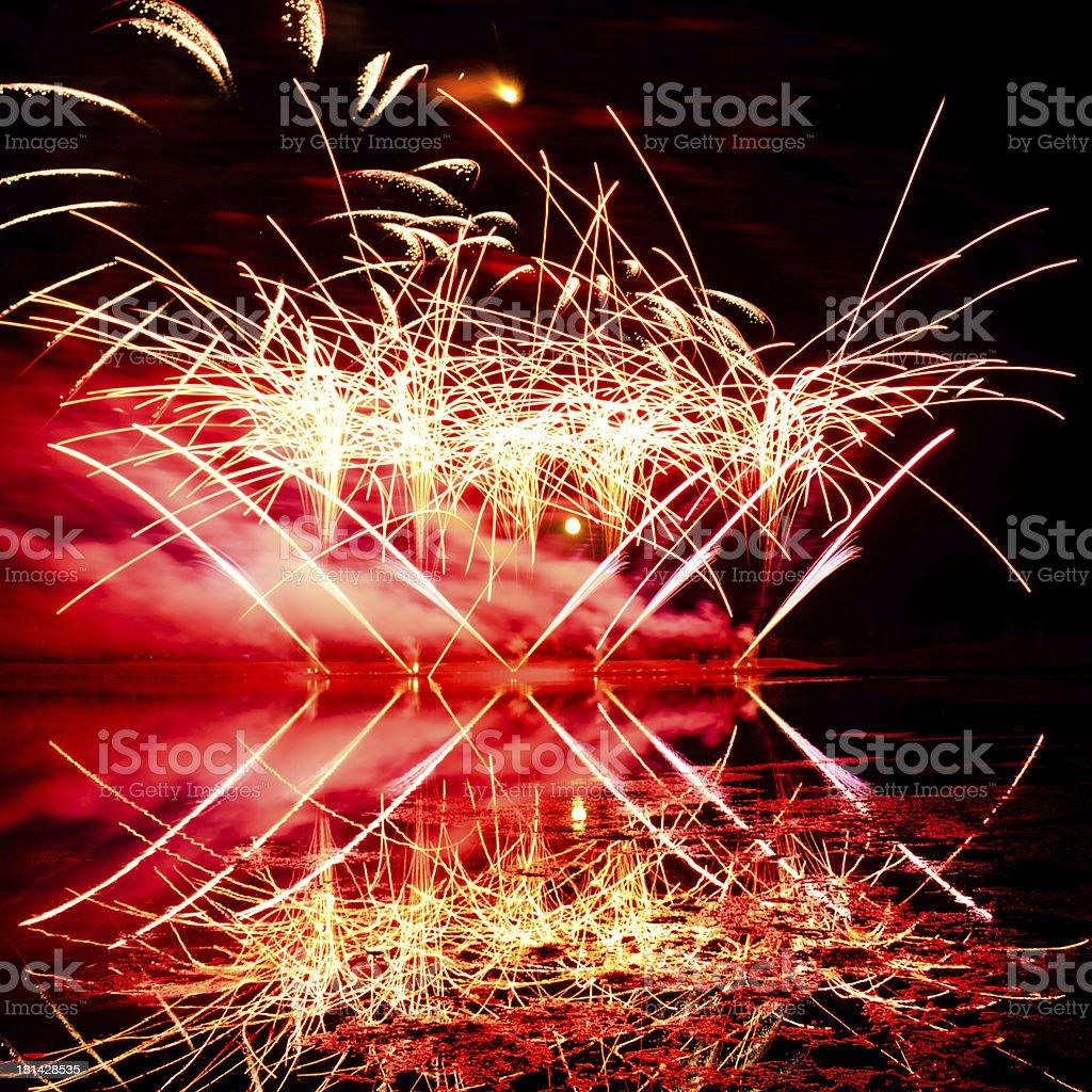 Pink and Orange Fireworks royalty-free stock photo