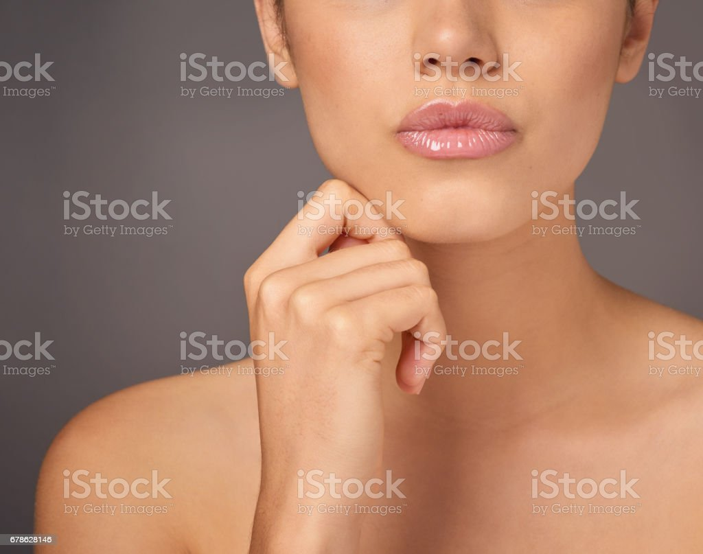 Pink and plump, the perfect pout stock photo