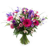 """Pink, purple and white flowers bouquet. Gerbera, Alstroemeria, Lisianthus, Iris and Liatris."""