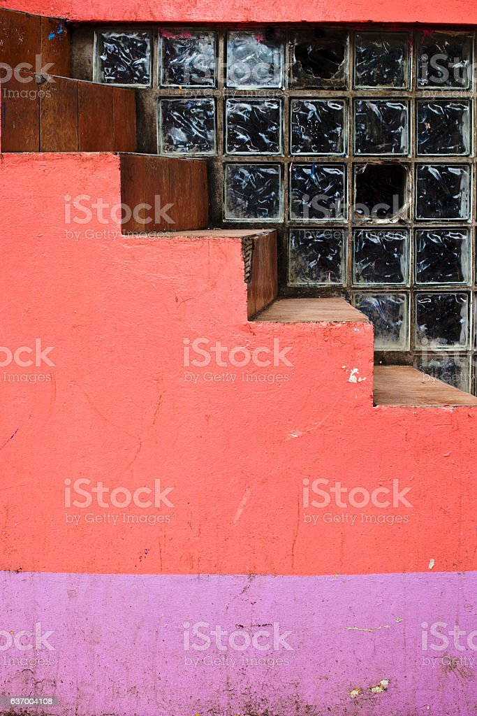 Pink and Purple Building Detail stock photo