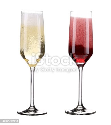 istock Pink and red champagne in glasses. 466585881