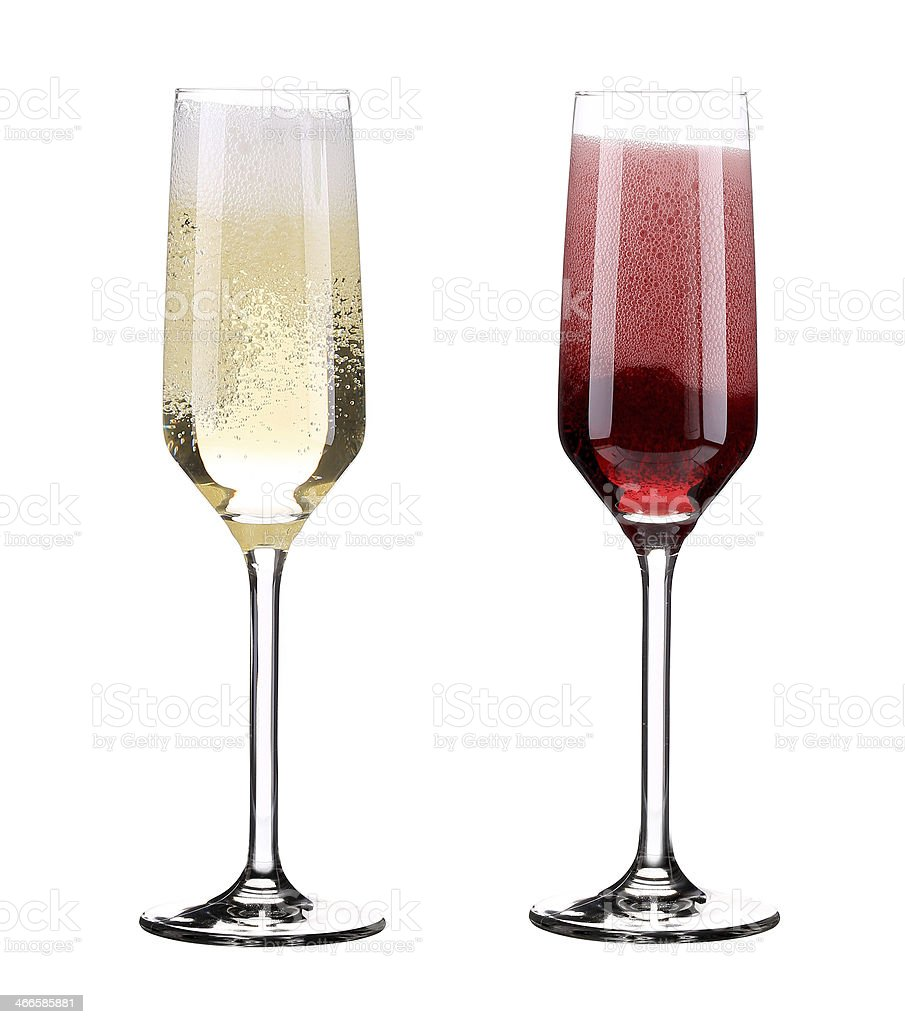 Pink and red champagne in glasses. stock photo