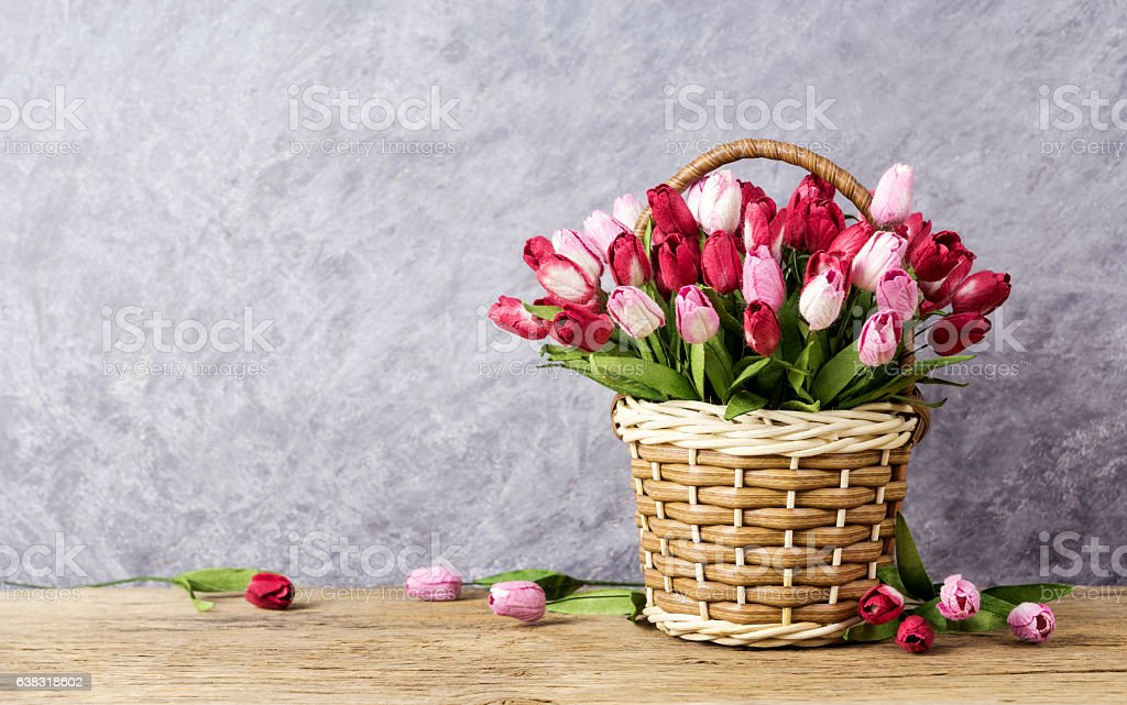 Pink and red tulip flowers in wood basket stock photo