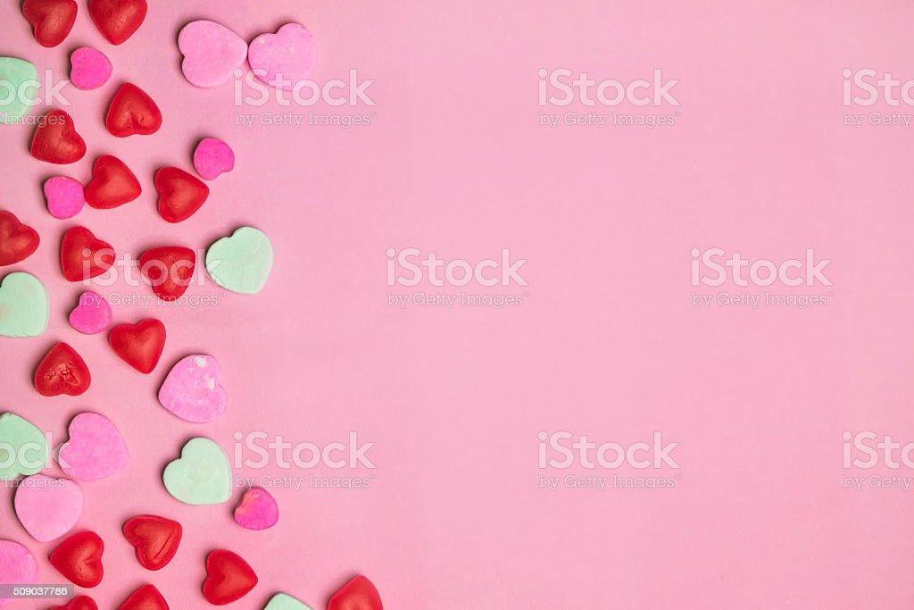 Rosa E Rosso San Valentino Caramelle Cuori Su Sfondo Pastello