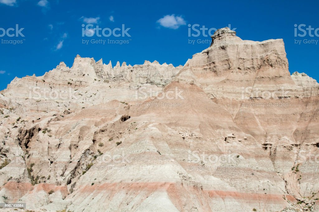 Pink and tan hill in Badlands Natural Park stock photo