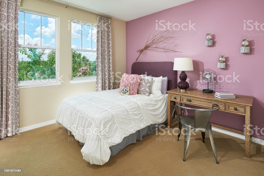 A Pink And Tan Little Kids Bedroom With An Owl Theme Stock Photo Download Image Now Istock
