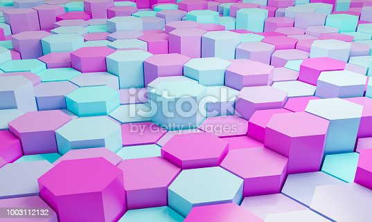 istock Pink and turquoise abstract hexagons background pattern 3D rendering - 3D Illustration 1003112132