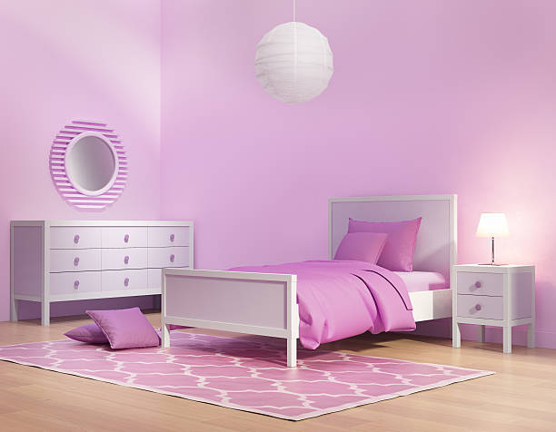 Pink and violet girl's bedroom Tendering of a Pink and violet girl's bedroom girl bedroom stock pictures, royalty-free photos & images