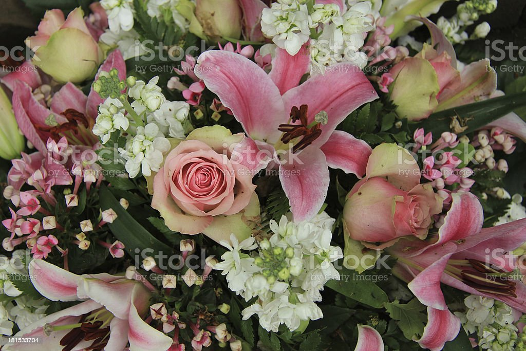 pink and white bridal arrangement royalty-free stock photo