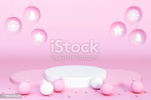 871072052 istock photo Pink and white christmas ball Ornaments and decoration object group with podium display stand on pink background 3d rendering. 1190405036