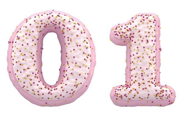 pink and white cream font and candy on top - nummer 1 kuchen stock-fotos und bilder