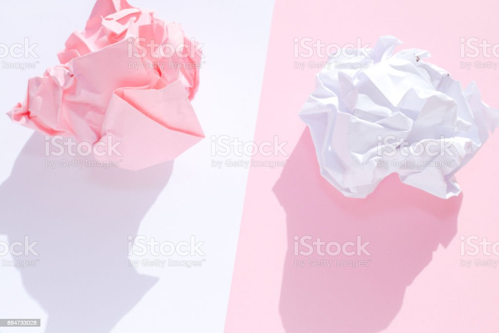 Pink and White crumpled papers stock photo