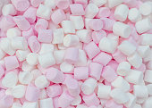 Pink and white mini marshmallows background