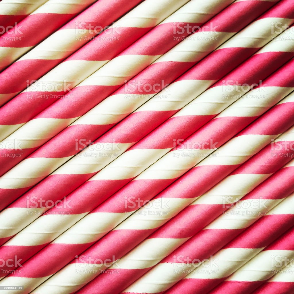 Pink and White Paper Straws stock photo