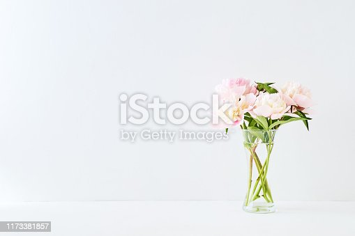 Pink and white peonies in a glass vase on a white background