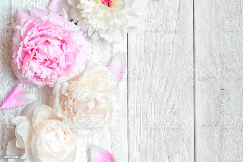 White Table Top View To Pink And White Peony Flowers On Wooden Table Top View With Copy Space Royalty Pink And White Peony Flowers On Wooden Table Top View With